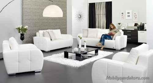 Siyah Beyaz Oturma Gruplari Mobilya Dekorasyon Ev